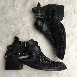 Jeffrey Campbell Everly Woven Leather Booties 9.5